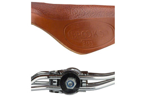 Brooks B135 Unisex Saddle Honey with black and chrome double springs