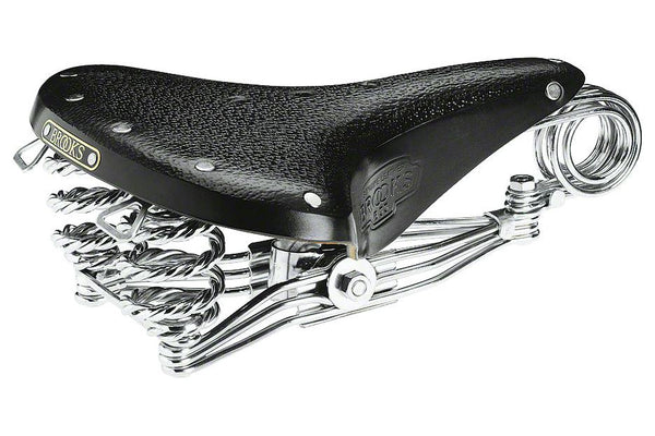 Brooks B33 Unisex Saddle Black with chrome rails, springs and clamp