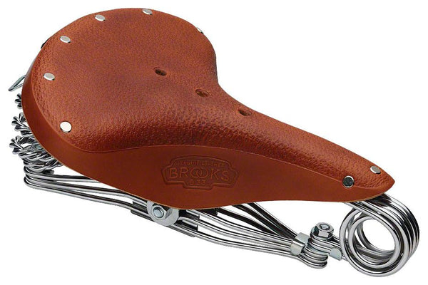 Brooks B33 Unisex Saddle Honey with triple chrome steel rails, springs and clamp