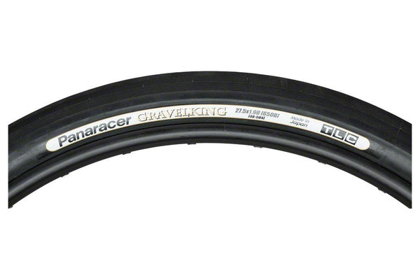 "Panaracer GravelKing 650b x 48 mm (27.5"" x 1.9""), Folding, Tubeless Ready, Slick Tread, Black Sidewall"