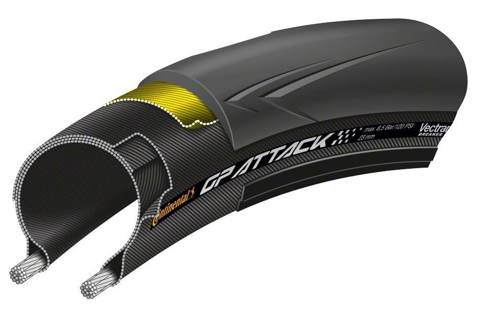 Continental Attack III Tire - 700 x 23, Clincher, Folding, Black, Front