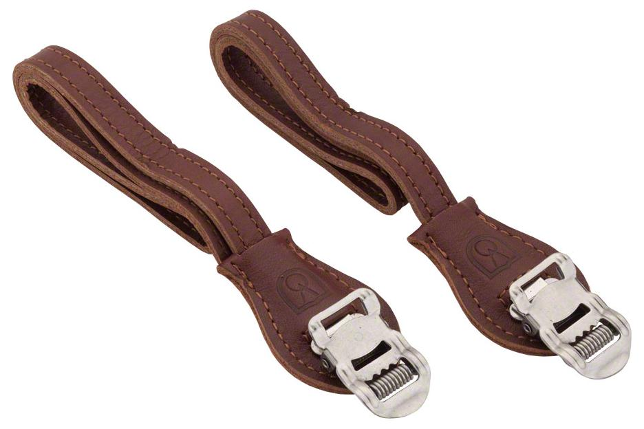 Velo Orange Grand Cru Leather Toe Straps: Brown