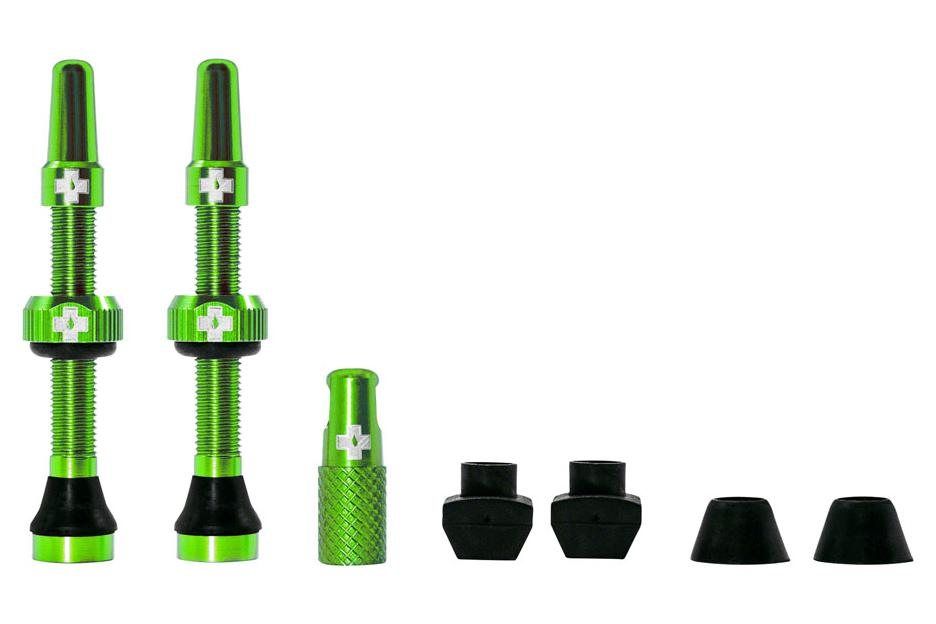 Muc-Off Tubeless Valve Kit: Green, fits Road and Mountain, 44mm, Pair