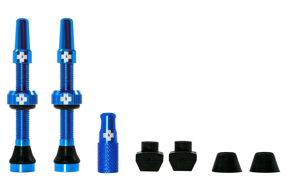 Muc-Off Tubeless Valve Kit: Blue, fits Road and Mountain, 44mm, Pair