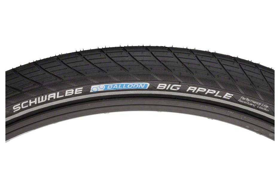 Schwalbe Big Apple Tire 26 x 2.00, Wire Bead, Performance Line, Endurance  Compound, RaceGuard, Black/Reflect
