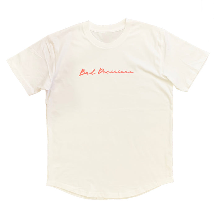 Bad Decisions Curved Hem Tee - White
