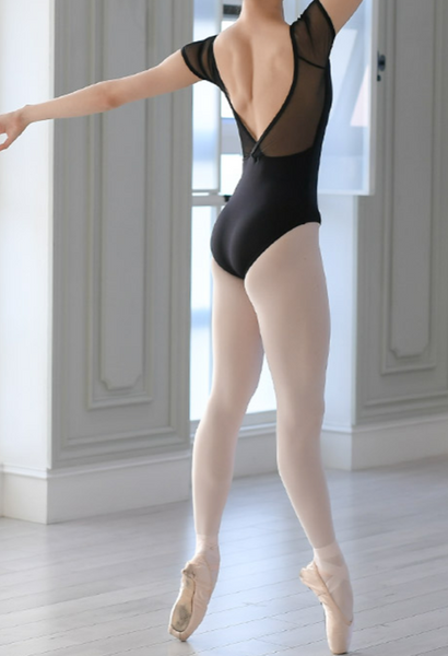 V-line shirring leotard (Black)