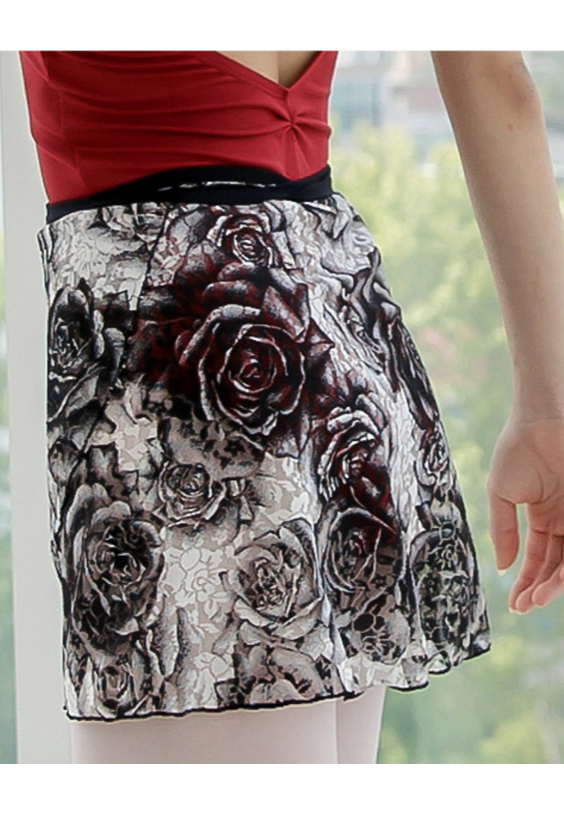 Fobene - Black rose pattern wrap skirt