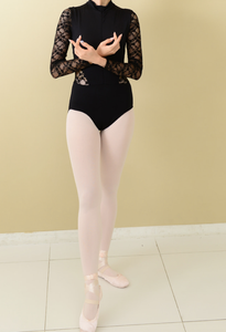 China collar Long sleeve mesh leotard