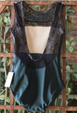 Luckyleo - Emerald & Black Art Deco leotard