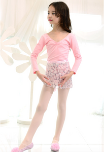 Skirt - White Flower pattern wrap skirt (Child)