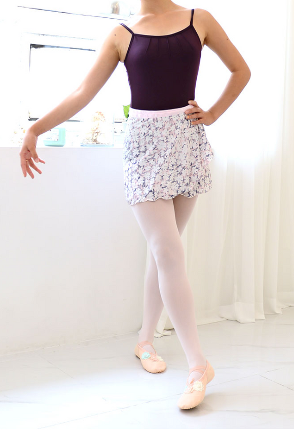 Skirt - White Flower pattern wrap skirt