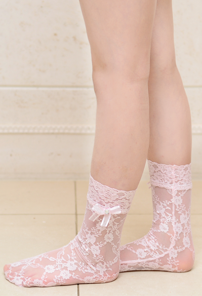Floral Mesh ankle tights