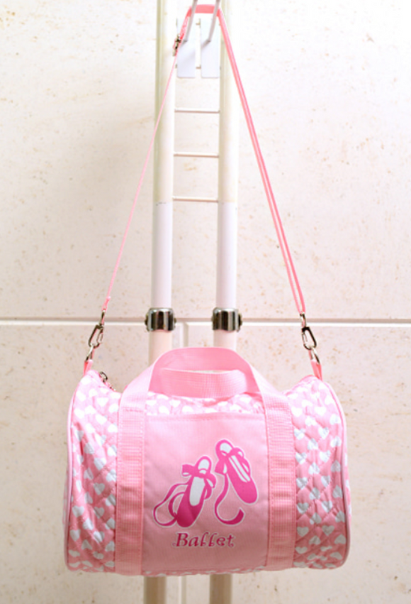 Heart print barrel bag