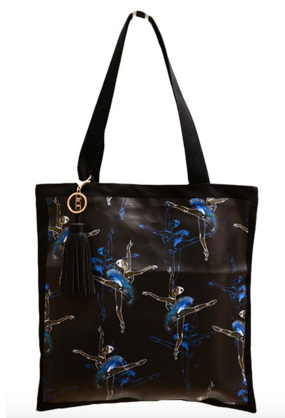 Black pattern ballerina eco-bag