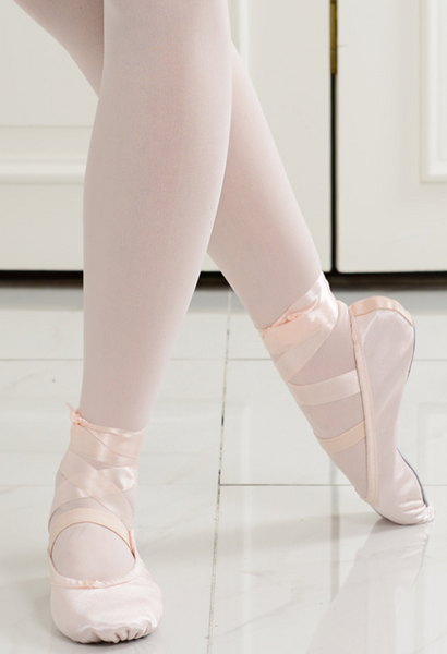 Toe ribbon satin ballet slipper