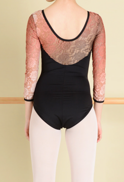 Gradation lace leotard (Black)