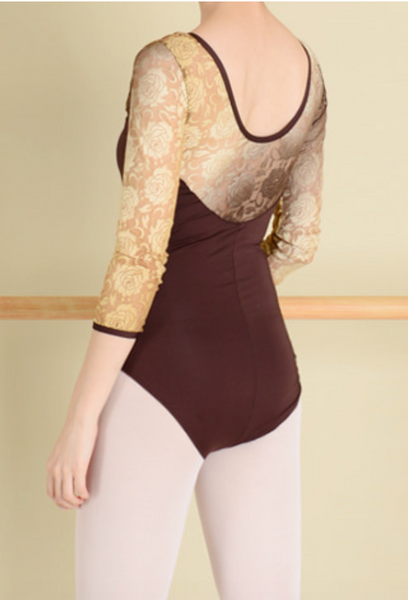 Gradation lace leotard (Cocoa)