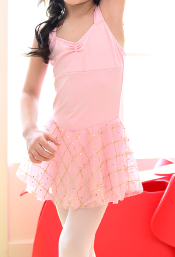Kids/Junior -  Square mesh chiffon tunics (Pink)
