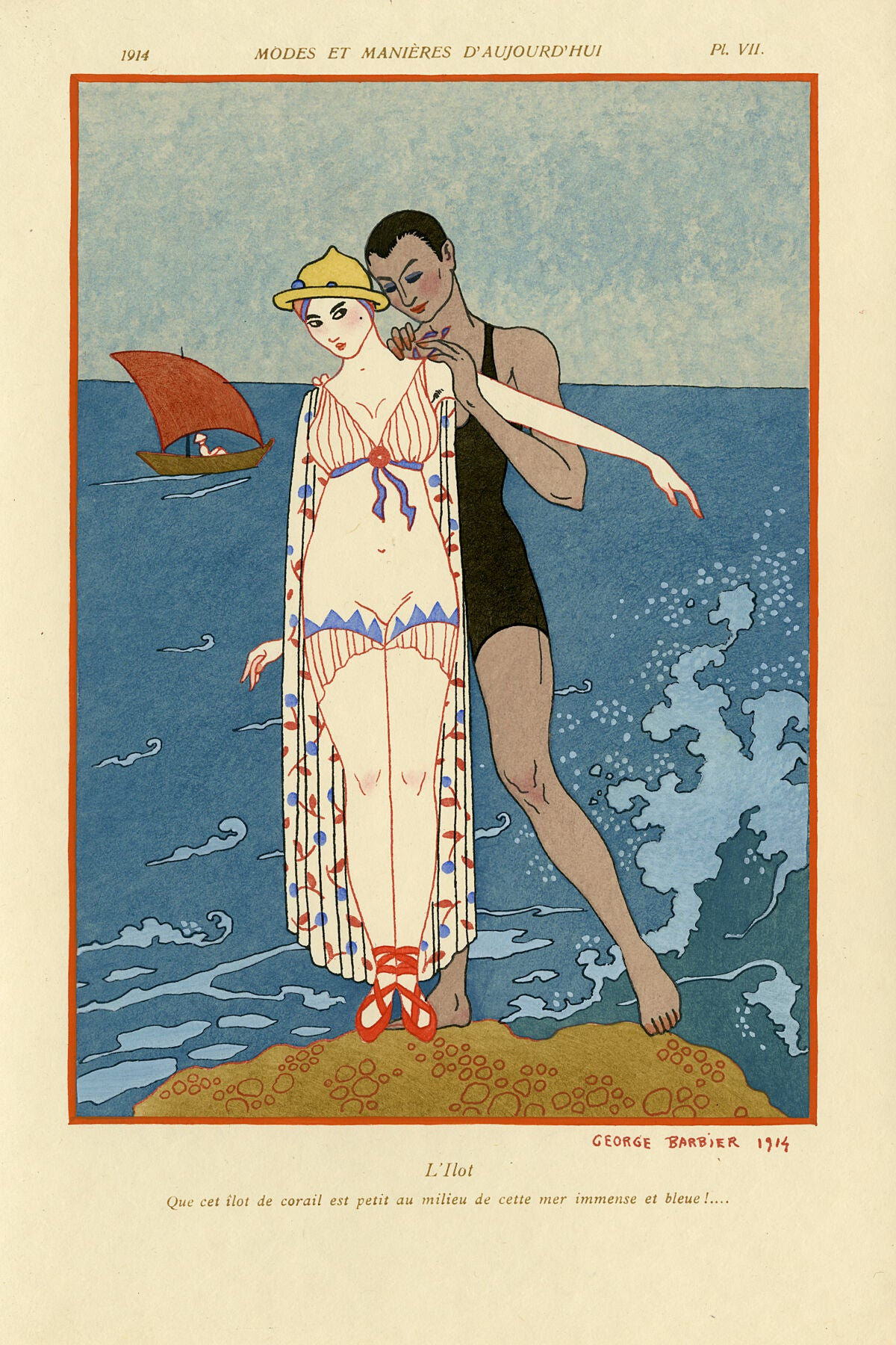 George Barbier fashion plate entitled L'Ilot, plate number VII, from Modes et Manières d'Aujourd'hui, 1914