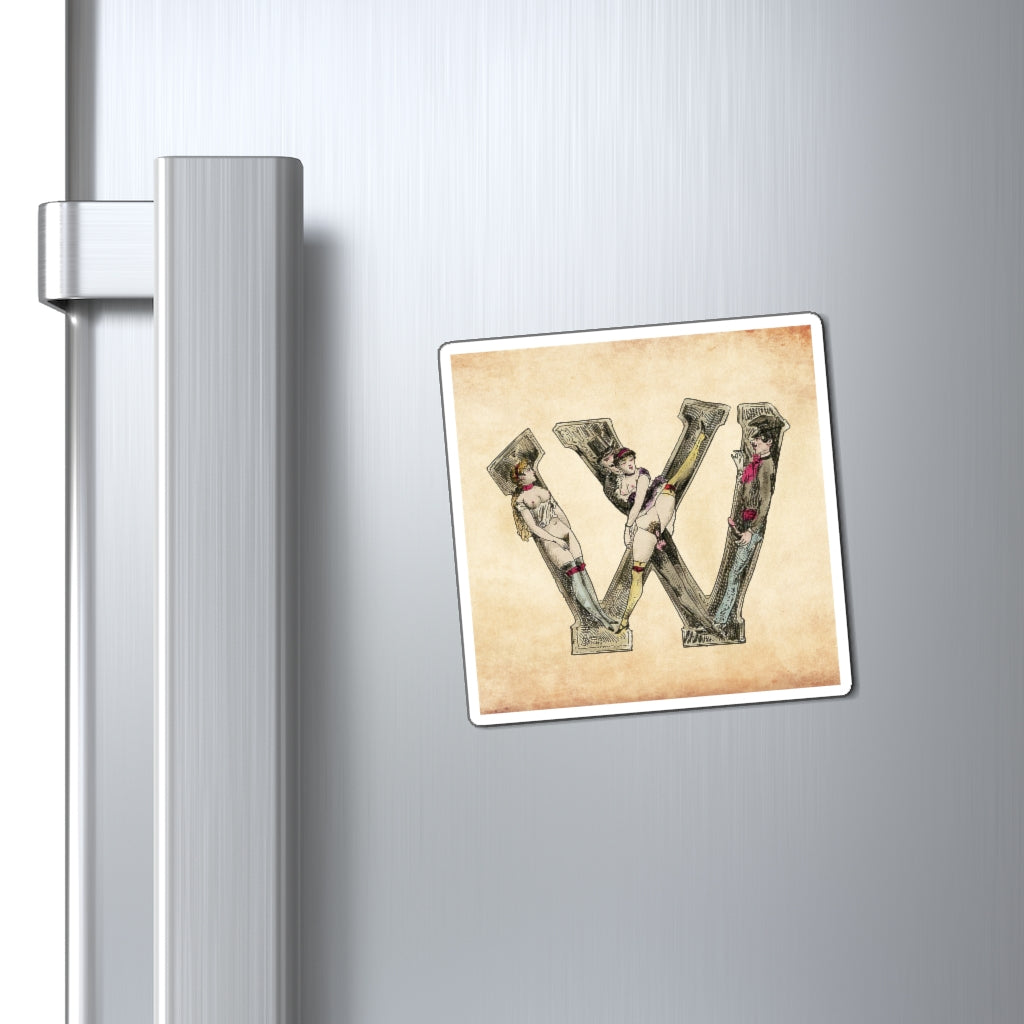 Magnet featuring the letter W from the Erotic Alphabet, 1880, by French artist Joseph Apoux (1846-1910).