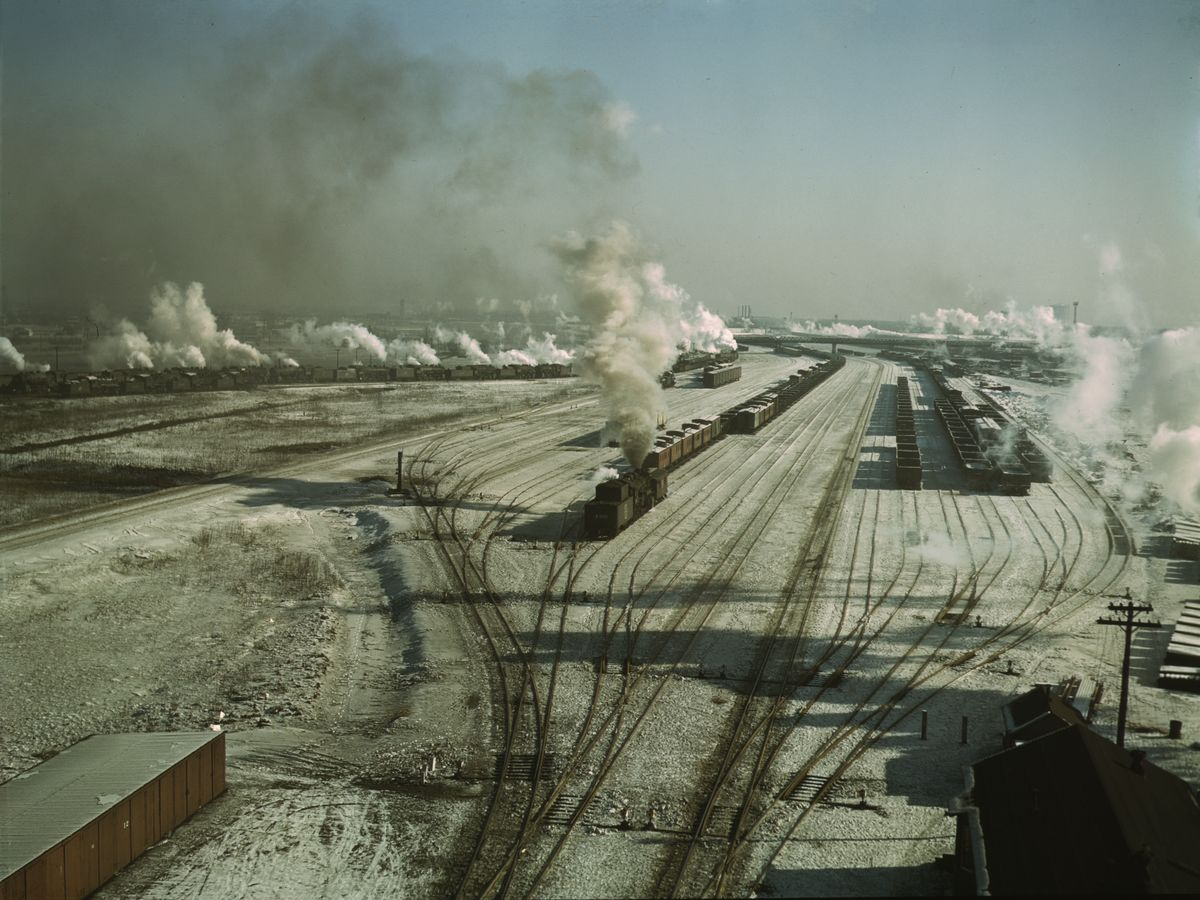 General view of one of the yards of the Chicago and Northwestern [i.e. North Western] railroad, Chicago, Ill. Jack Delano, 1942