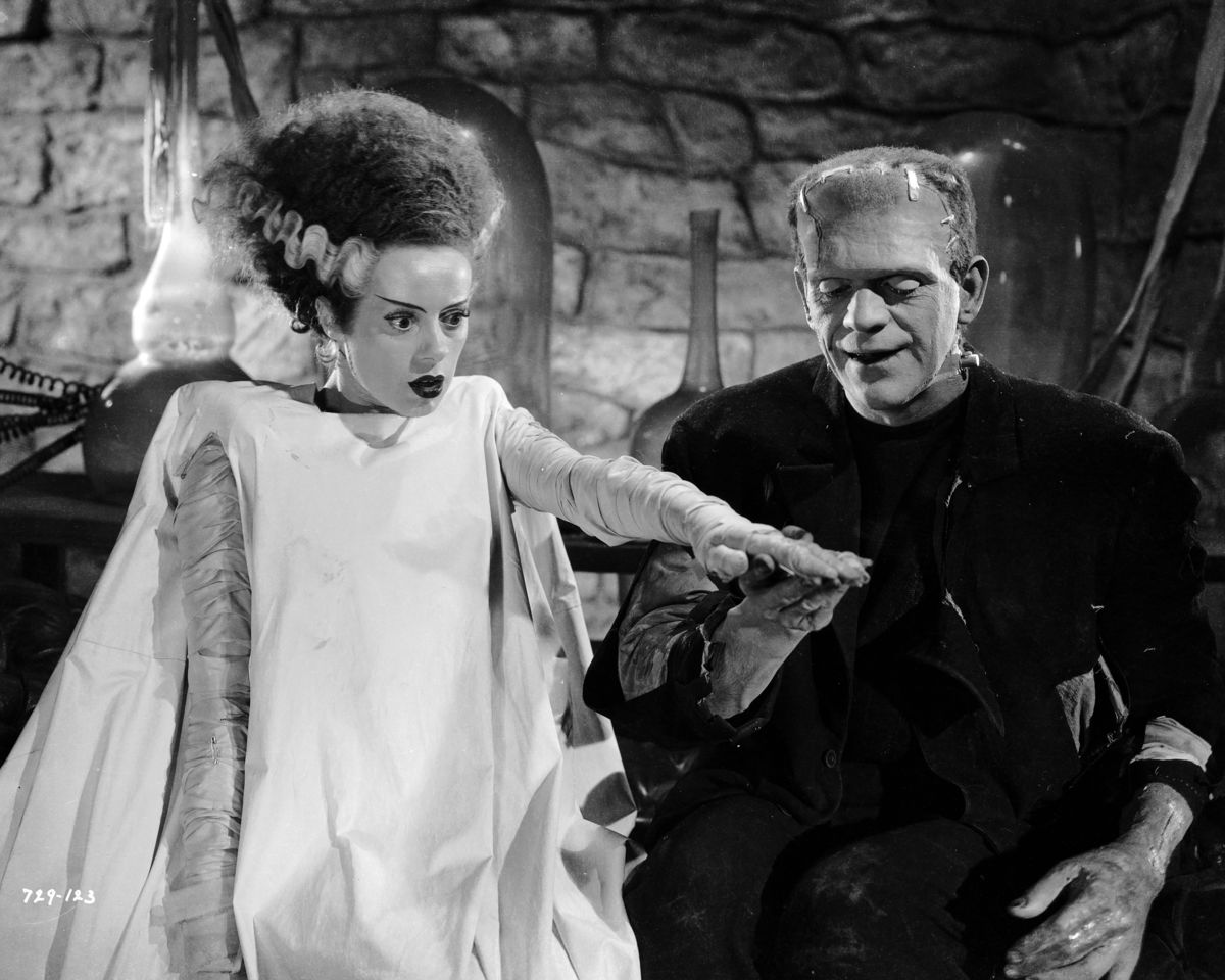 Still from Bride of Frankenstein directed by James Whale in 1935 featuring Elsa Lanchester and Boris Karloff.