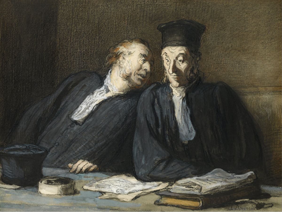 Two Lawyers Conversing by Honoré Daumier -  c.1850