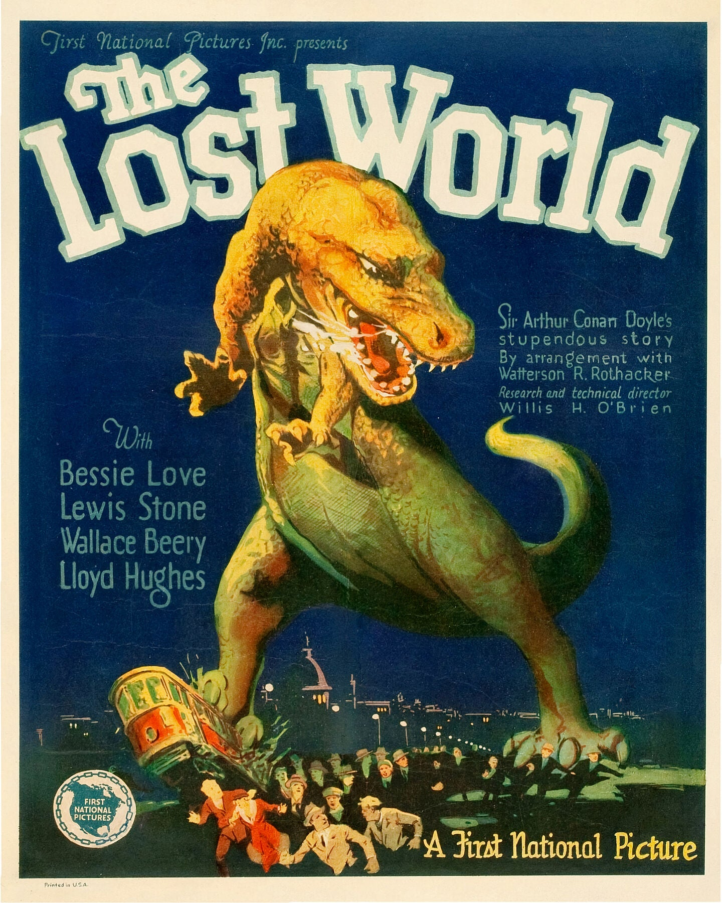 Poster advertising The Lost World movie - 1925.