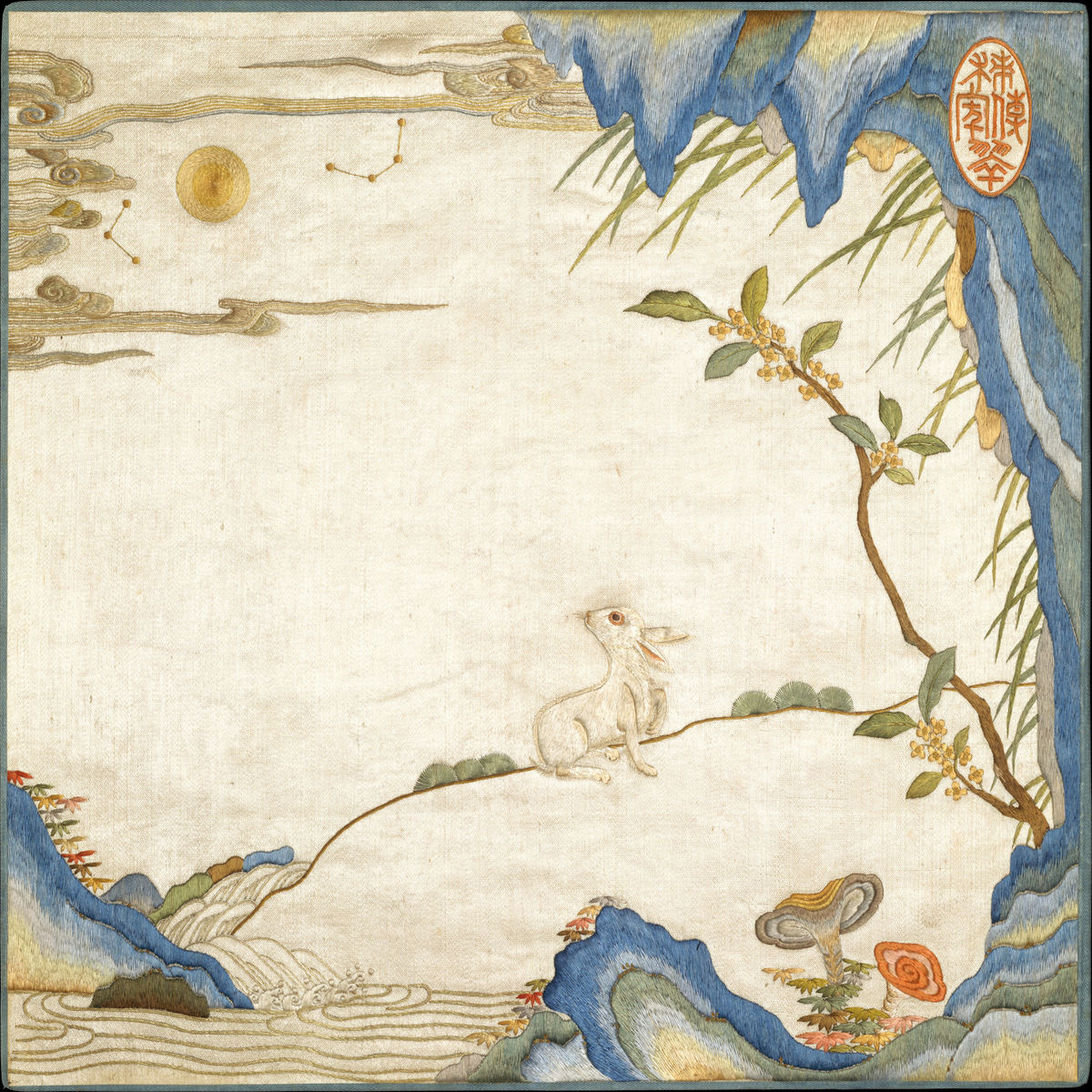 Rabbit in Landscape - Qing era China