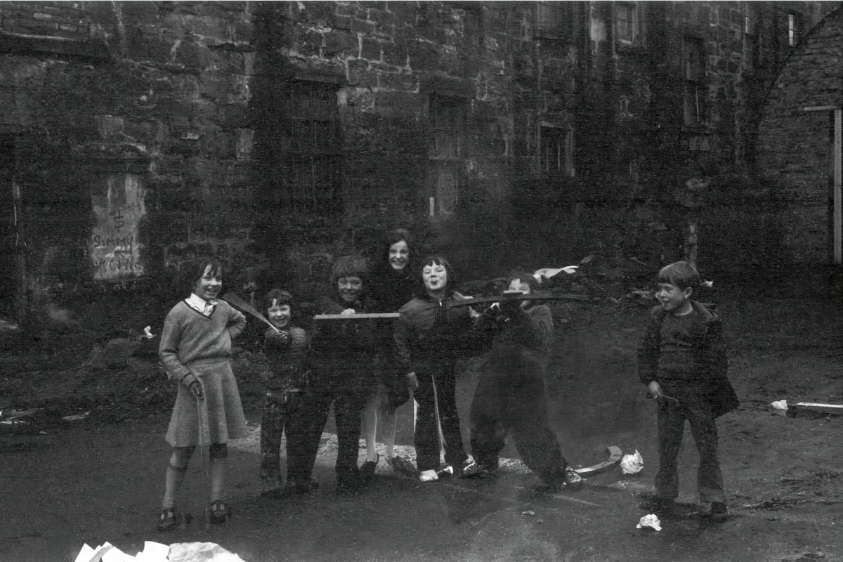 Group of Children in Glasgow by John J Brady - 1975