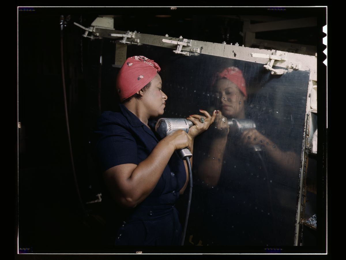 Operating a Hand Drill at Vultee-Nashville by Alfred T. Palmer - 1943