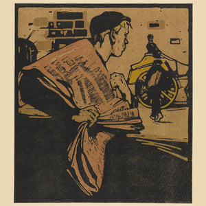 London Types : Newspaper Boy by William Nicholson - 1898.  Printmaker William Nicholson worked in partnership with his brother-in-law James Pryde, under the pseudonym the Beggarstaff Brothers.