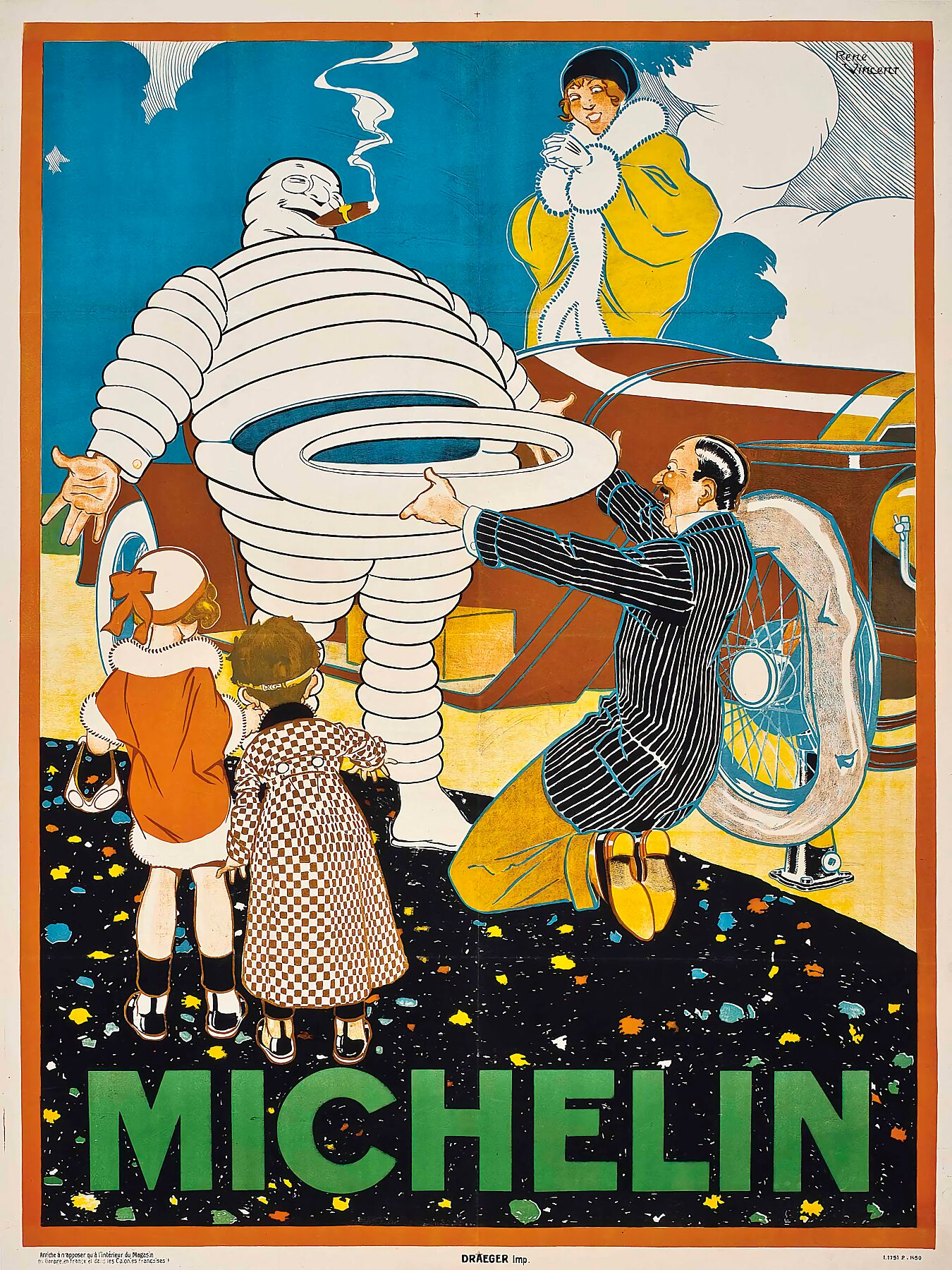 Michelin lithograph in colours by René Vincent (1879-1936), c.1925.