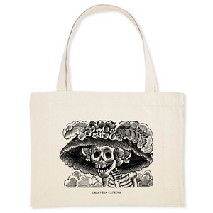 Organic shopping bag featuring La Calavera Catrina or Catrina Ljazmun a Calavera Garbancera ('Dapper Skeleton', 'Elegant Skull') - a 1910–1913 zinc etching by the Mexican printmaker, cartoon illustrator and lithographer José Guadalupe Posada.