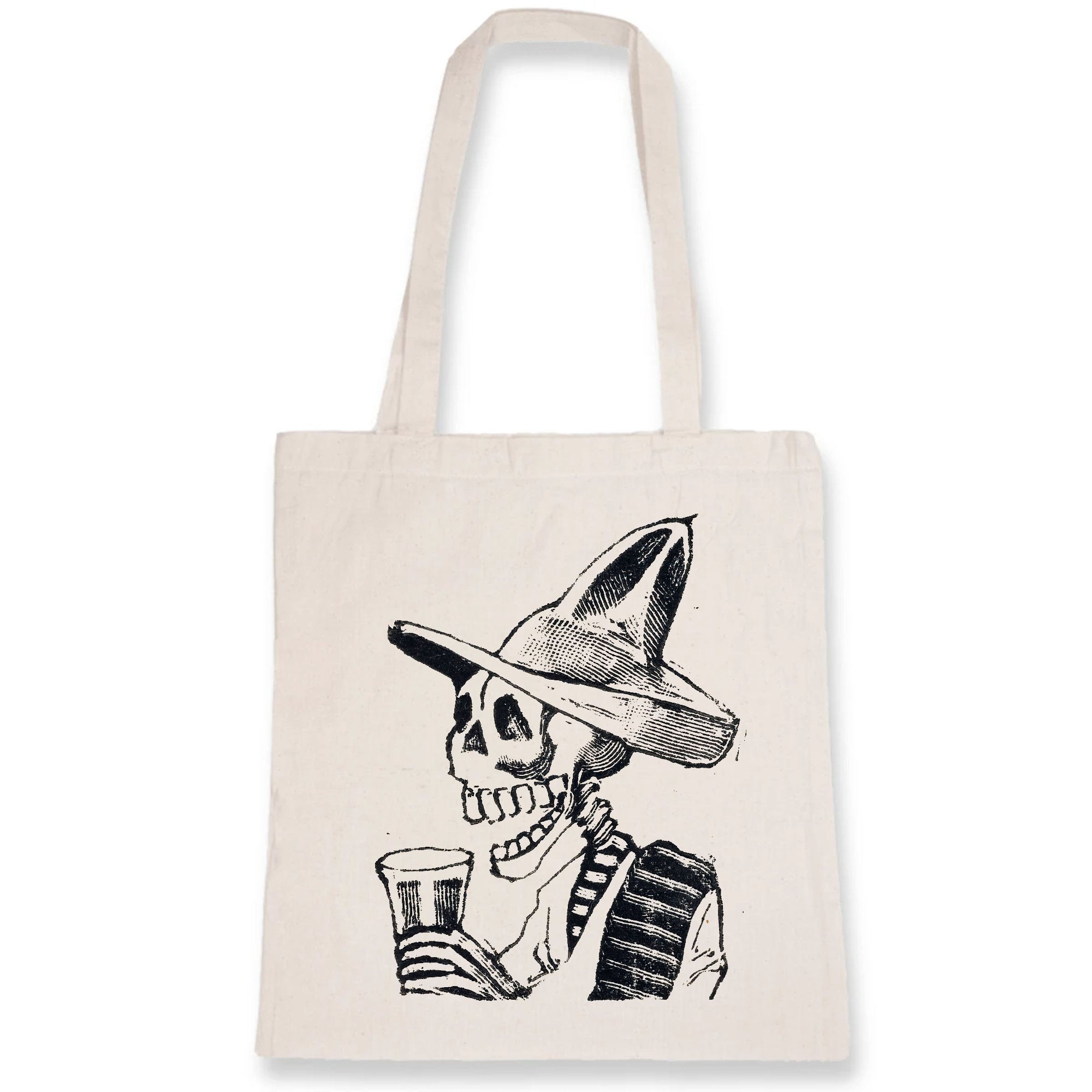 A 100% organic cotton Totye bag featuring a skeleton wearing a hat and having a drink (vignette for the feast of the dead) ca. 1890–1910 by José Guadalupe Posada.