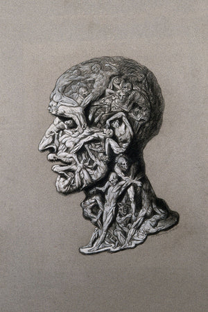 The Head of a Man Composed of Writhing Nude Figures by Hans Mischlenski - 1929