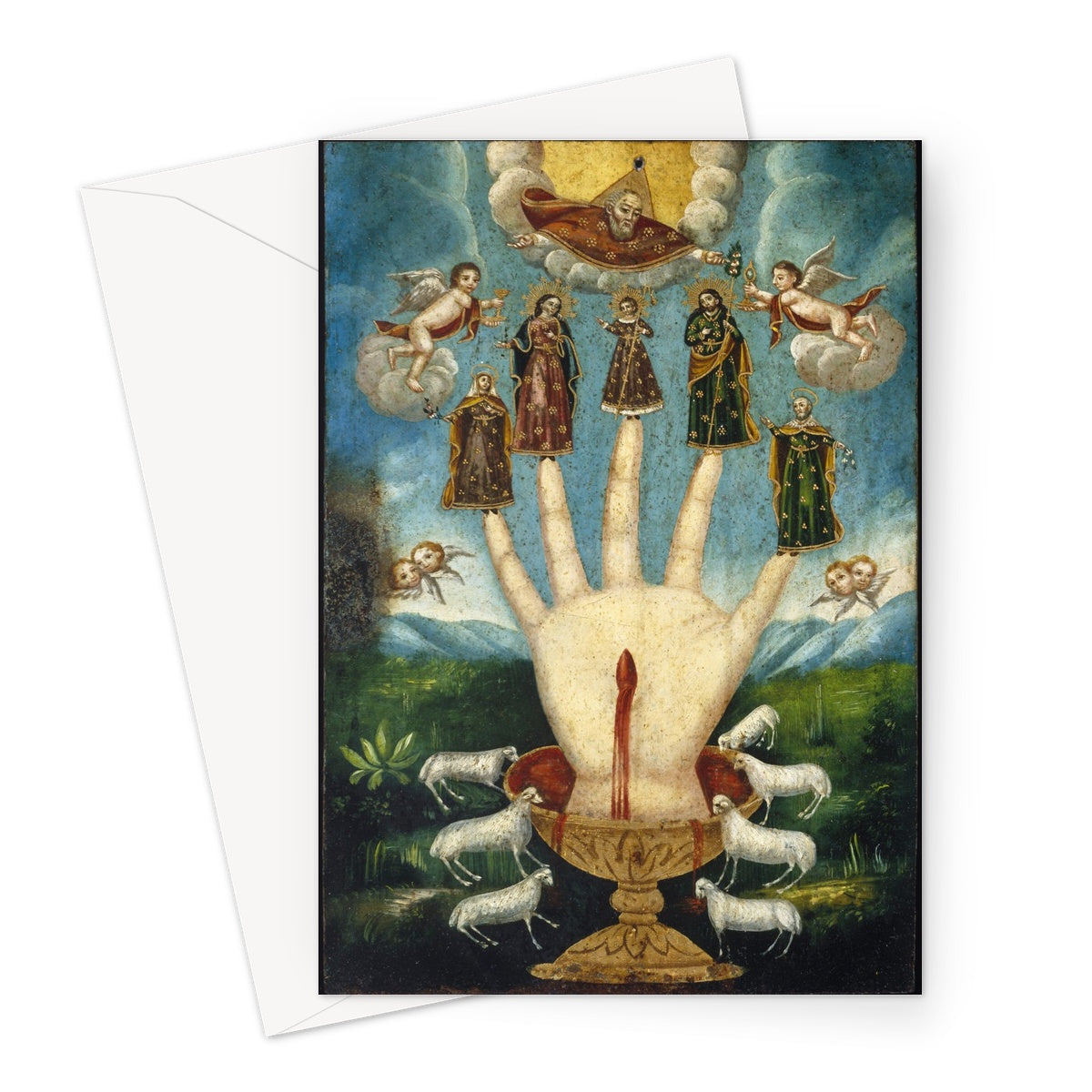 Mano Poderosa (The All-Powerful Hand), or Las Cinco Personas (The Five Persons), 19th century. Oil on metal (possibly tin-plated iron), Mexico, Brooklyn Museum.  These greetings cards are printed on high-quality 330gsm Fedrigoni card.