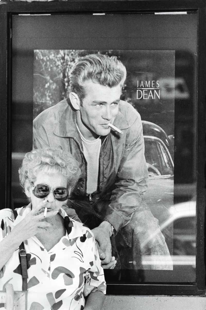 Smoking With James Dean in Hollywood, California by Michael Carlebach - 1992-07-20