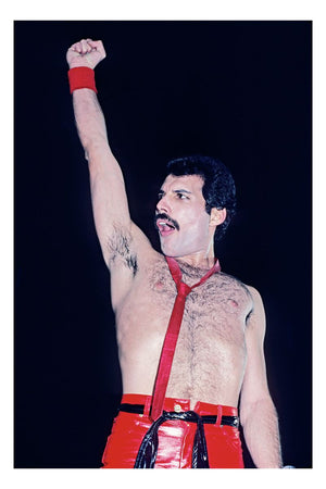 Freddie Mercury of Queen performing at Madison Square Garden, New York in 1980
