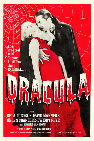 Poster promoting a theatrical reissue of the 1931 film 'Dracula' - c.1960
