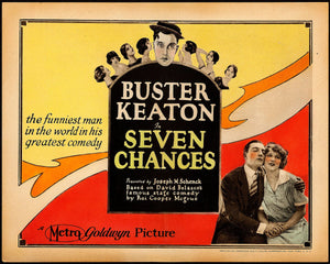 Seven Chances is a 1925 American comedy silent film directed by and starring Buster Keaton, based on the play of the same name by Roi Cooper Megrue, produced in 1916 by David Belasco. Additional cast members include T. Roy Barnes, Snitz Edwards and Ruth Dwyer. Jean Arthur, a future star, has an uncredited supporting role. The film's opening scenes were shot in early Technicolor - Wikipedia.