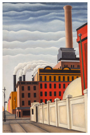 Stacks up 1st Avenue at 34th Street by George Copeland Ault - 1928