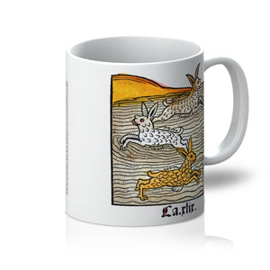 Three Hares swimming in a River, 1547 - Mug