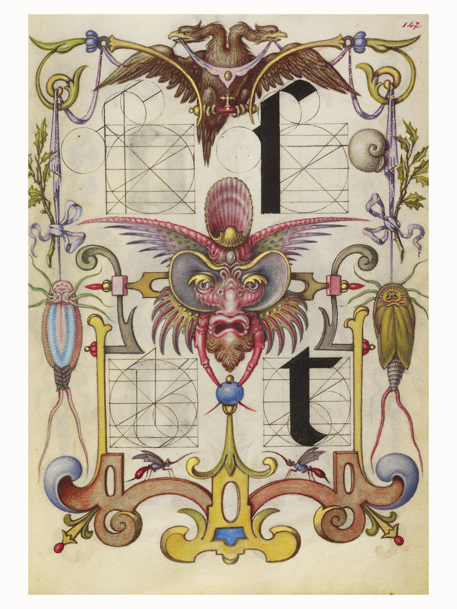 Guide for Constructing the Letters s and t by Joris Hoefnagel - 1591