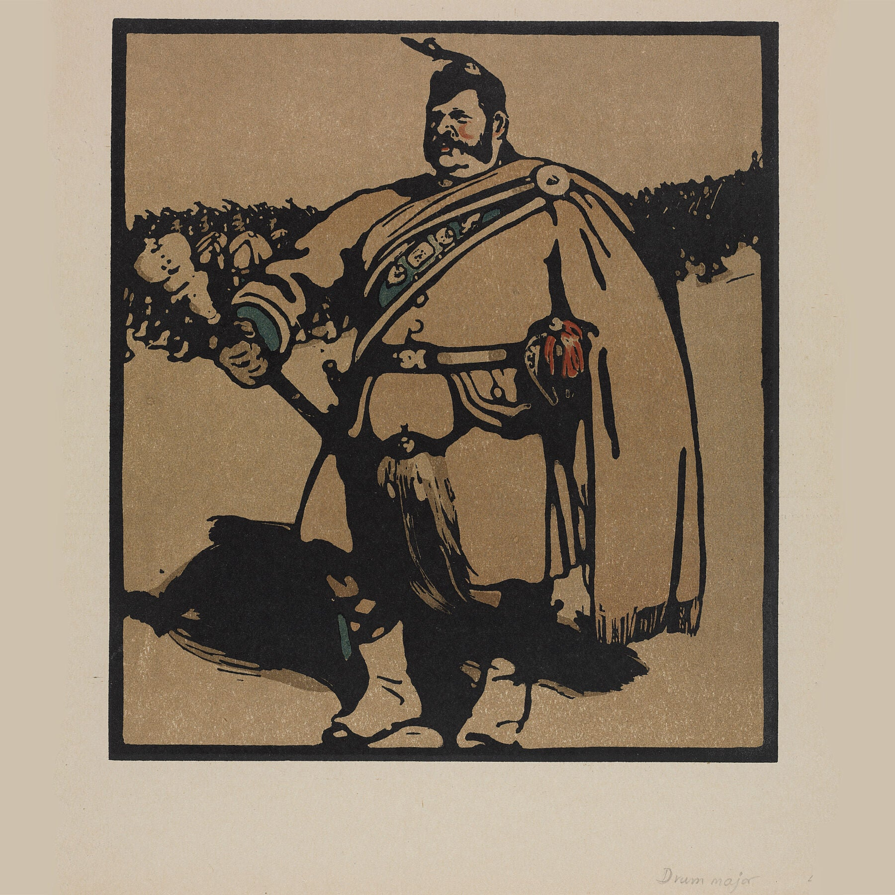 London Types : The Drum Major by William Nicholson - 1898.  Printmaker William Nicholson worked in partnership with his brother-in-law James Pryde, under the pseudonym the Beggarstaf Brothers.