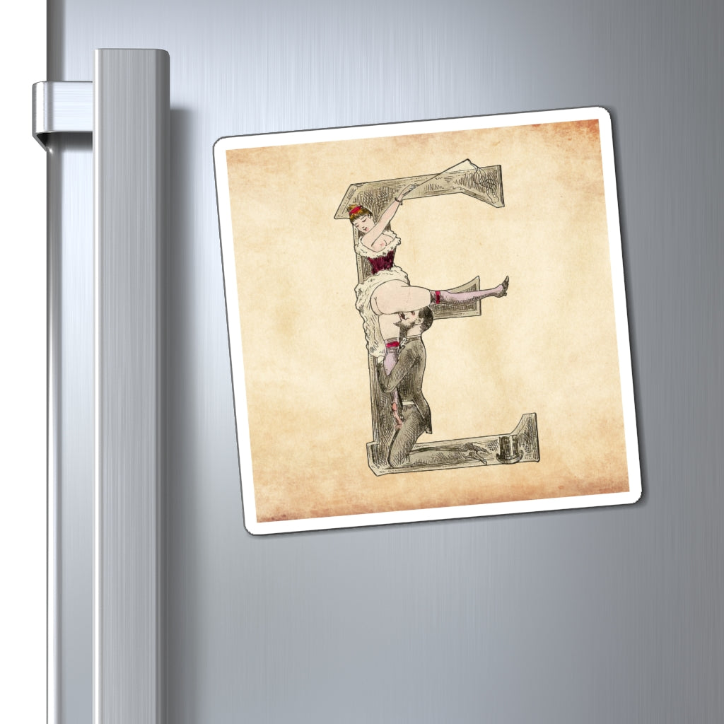 Magnet featuring the letter E from the Erotic Alphabet, 1880, by French artist Joseph Apoux (1846-1910).