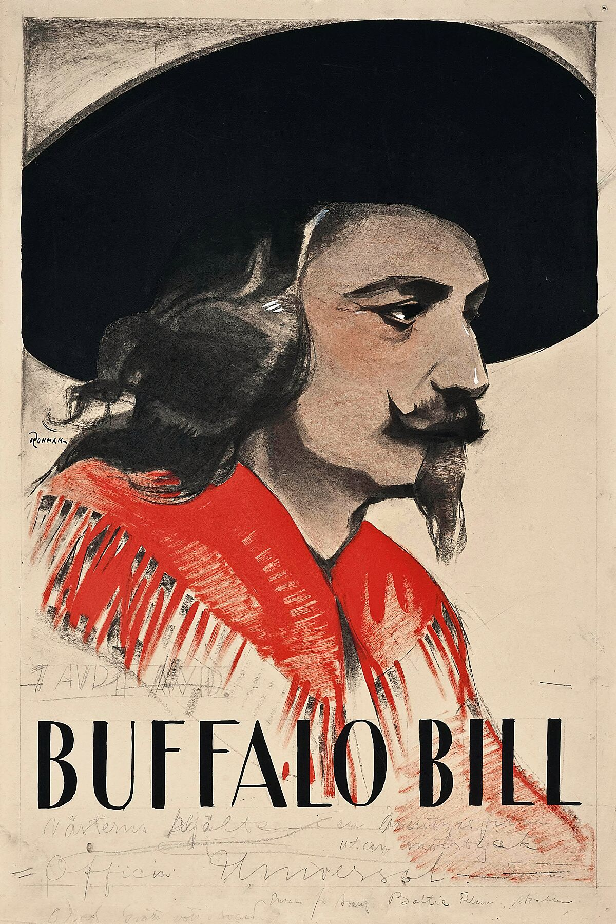 Eric Rohman original concept artwork  In The Days Of Buffalo Bill Vasterns Hjalte  1922, Universal, Swedish