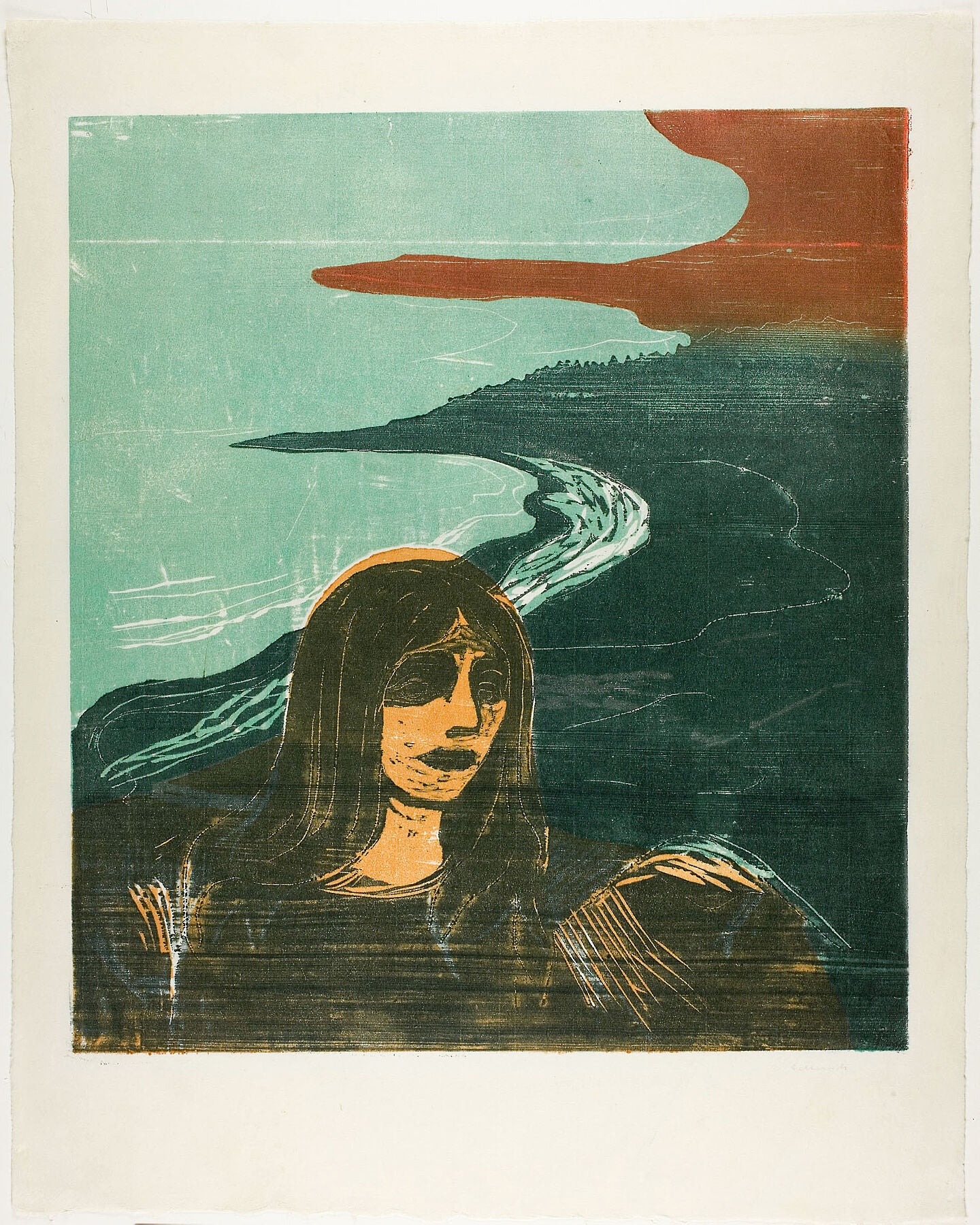 Woman's Head against the Shore by Edvard Munch - 1899