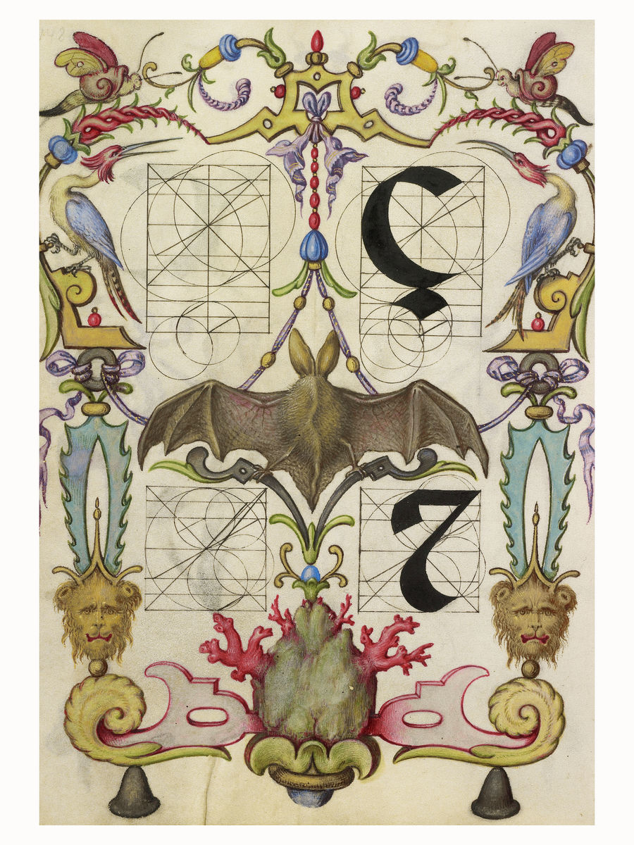 Guide for Constructing the Letters ç and Tironian et by Joris Hoefnagel - 1591